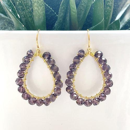 Sparkly Grape Teardrop Beaded Earrings