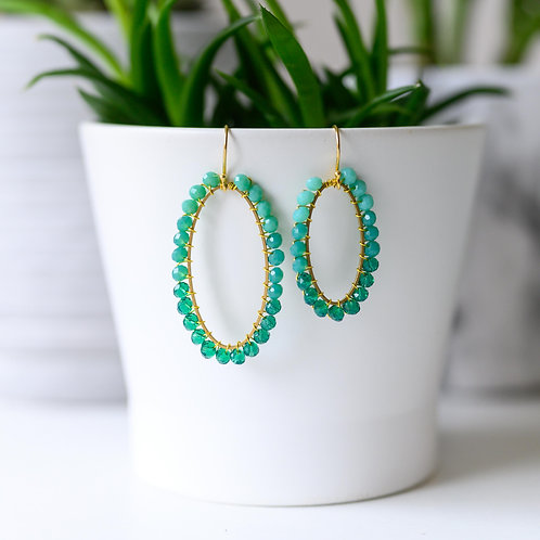 Turquoise Ombré Oval Beaded Earrings
