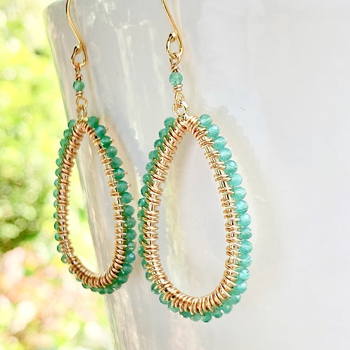 Pale Green Jade Teardrop Beaded Earrings