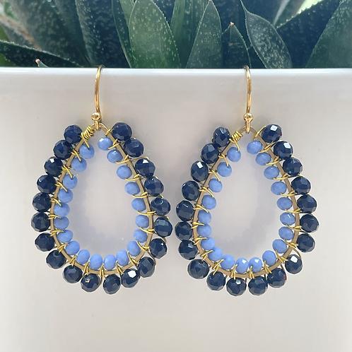 Midnight Blue & Pale Cornflower Blue Double Beaded Teardrop Earrings