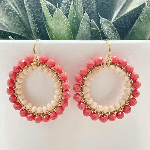 Coral & Pale Peach Double Beaded Round Earrings