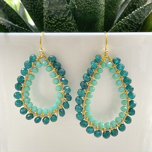 Teal Agate & Turquoise Double Beaded Teardrop Earrings