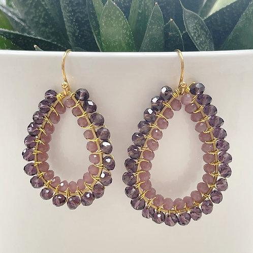 Sparkly Grape & Dusky Pink Double Beaded Teardrop Earrings