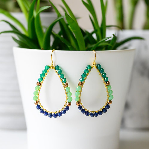 Teal, Mint & Oxford Blue Teardrop Beaded Earrings