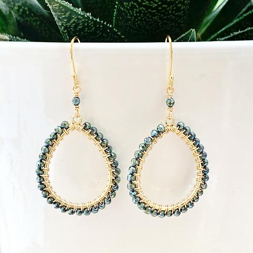 Pyrite Peardrop Beaded Earrings