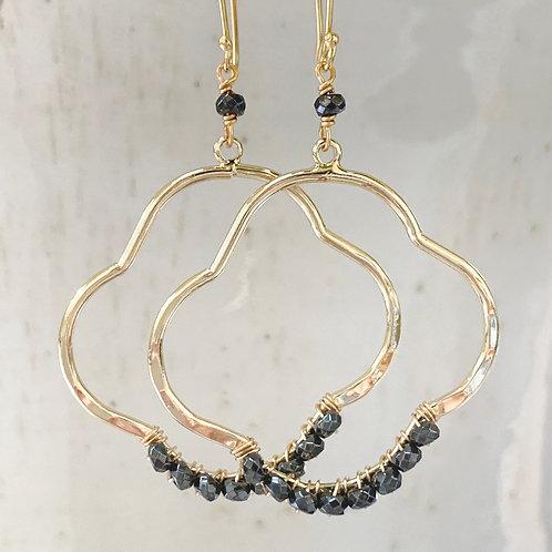 Hematite Clover Earrings