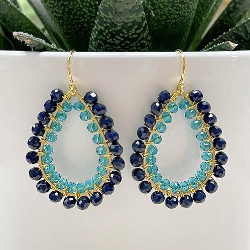 Midnight Blue & Sparkly Aqua Double Beaded Teardrop Earrings