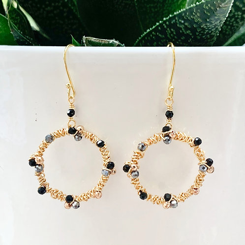 Black Ombré Wrapped Round Earrings