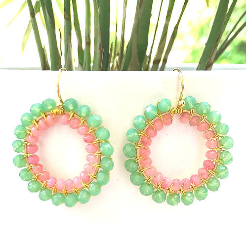 Mint Green & Candy Pink Double Beaded Round Earrings