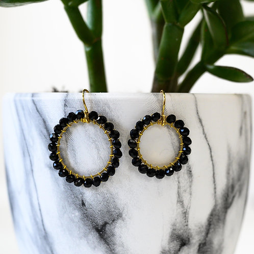 Black Round Beaded Earrings