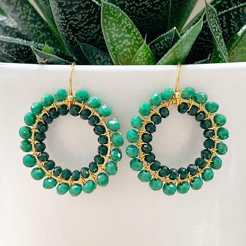Evergreen & Emerald Green Round Double Beaded Earrings
