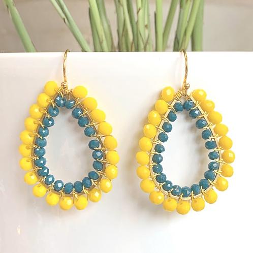 Yellow & Airforce Blue Double Beaded Teardrop Earrings