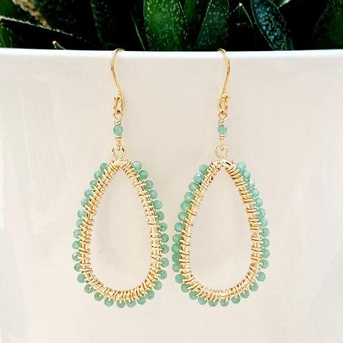 Pale Green Jade Teardrop Beaded Earrings