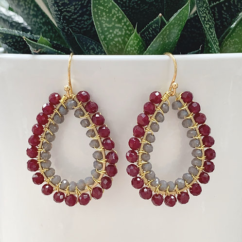 Burgundy & Grey Double Beaded Teardrop Earrings
