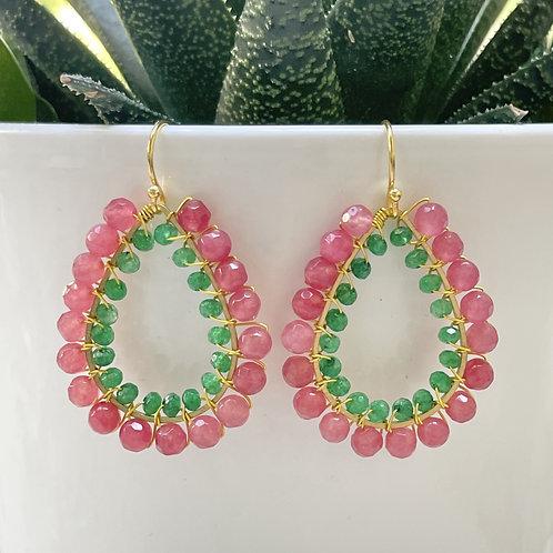 Candy Pink & Emerald Green Agate Double Beaded Teardrop Earrings