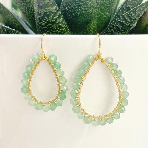 Mint Green Jade Teardrop Beaded Earrings