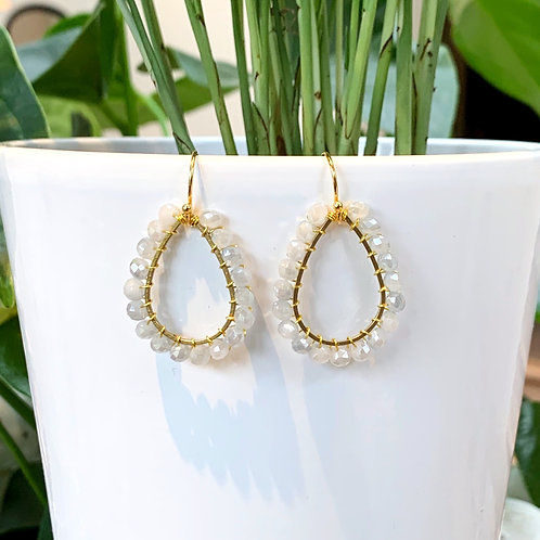 Light Grey Teardrop Earrings