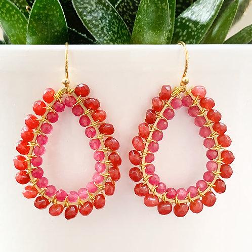 Red Carnelian & Pink Jade Double Beaded Teardrop Earrings