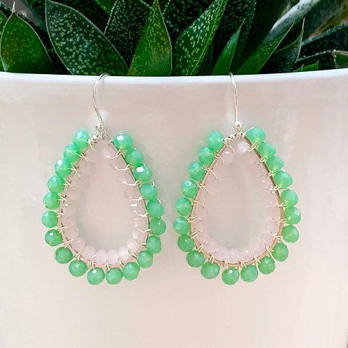 Mint Green & Pale Pink Double Beaded Teardrop Earrings (Silver