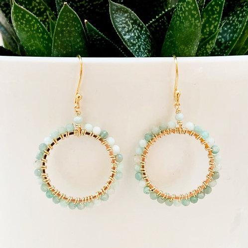 Mint Green Amazonite Round Beaded Earrings