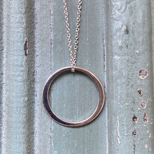 Circle of Life on Thin Chain Necklace - Sterling Silver