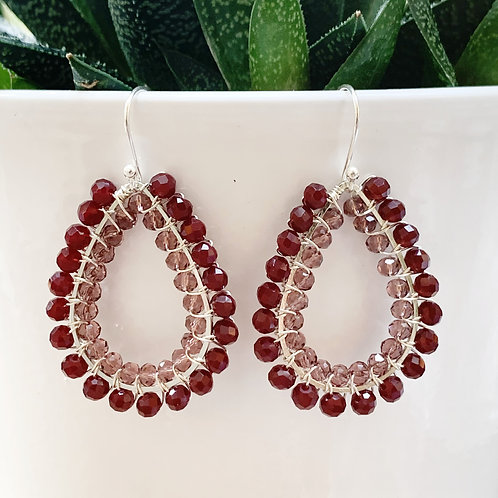 Burgundy & Sparkly Dusky Pink Double Beaded Teardrop Earrings (Silver)