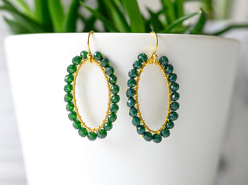 Emerald Green Oval Earrings