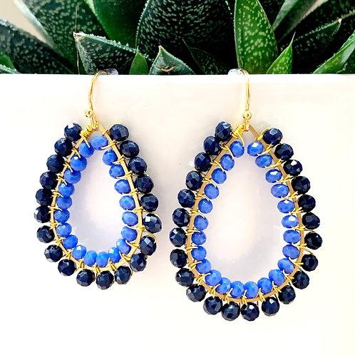 Midnight Blue & Cornflower Blue Double Beaded Teardrop Earrings