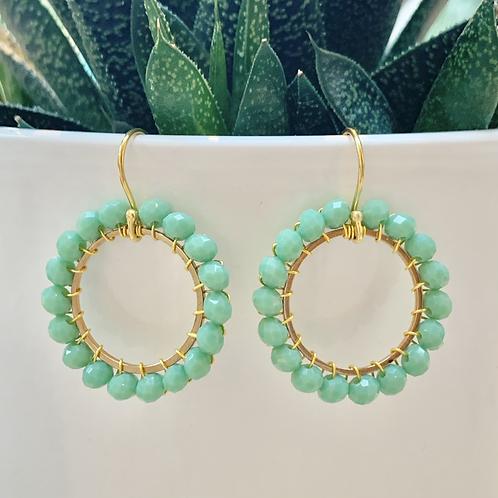 Mint Green Round Beaded Earrings