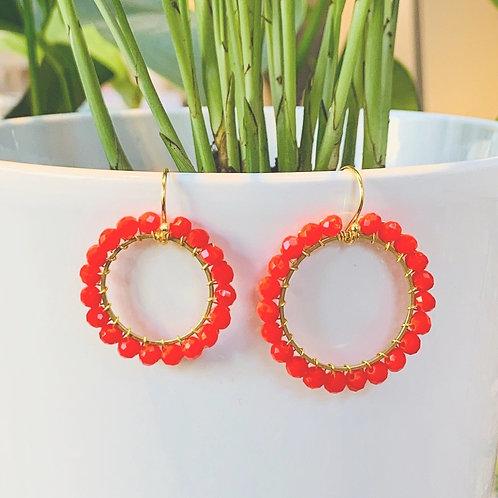 Blood Orange Round Beaded Earrings