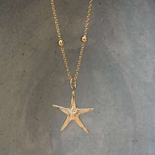 Starfish on Large Ball Necklace -Gold