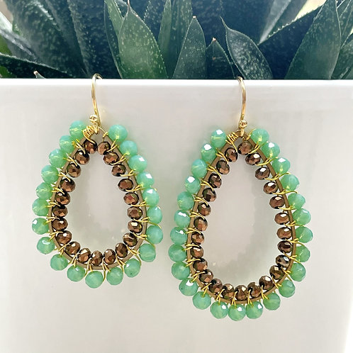 Mint Green & Bronze Double Beaded Teardrop Earrings