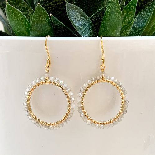 Labradorite Round Beaded Earrings