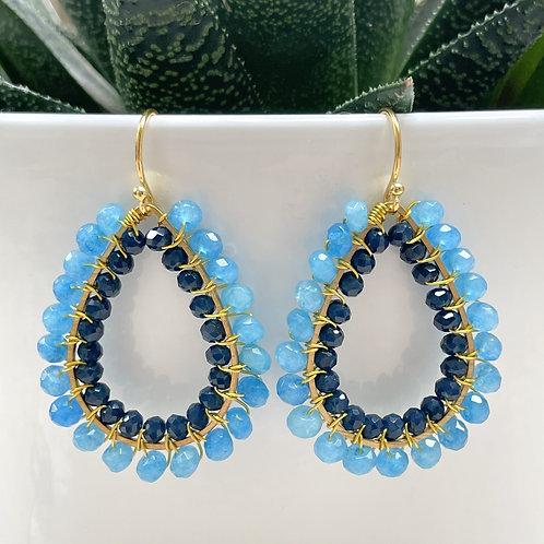 Aqua Blue Agate & Midnight Blue Double Beaded Teardrop Earrings