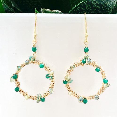 Green Peridot Ombré Wrapped Round Earrings