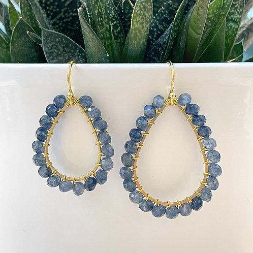 Denim Blue Agate Beaded Teardrop Earrings