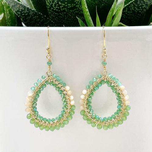 Mint Green Amazonite Ombré Double Beaded Peardrop Beaded Earrings