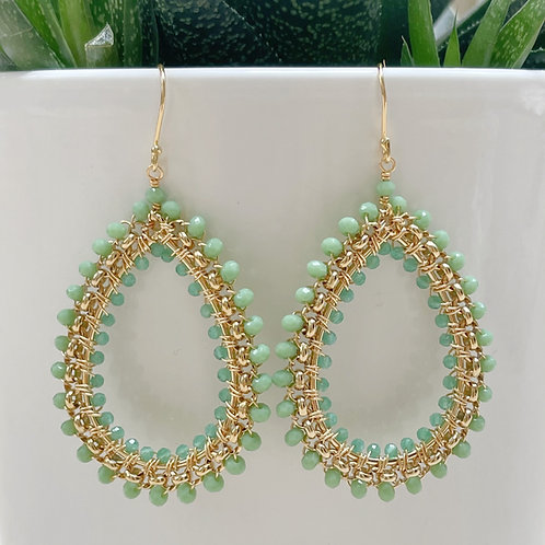 Fluorite Rolo Teardrop Beaded Earrings