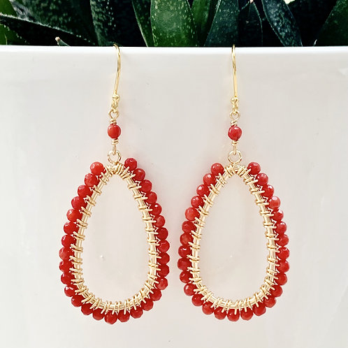 Ruby Red Teardrop Beaded Earrings
