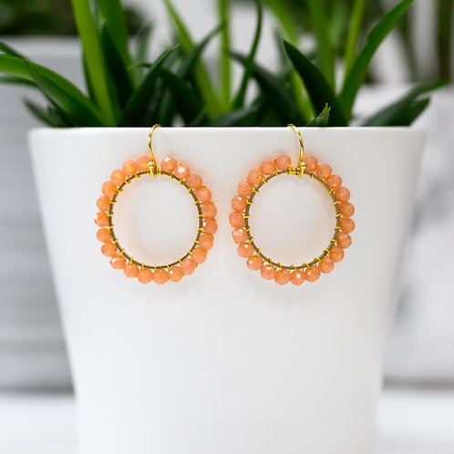 Apricot Round Beaded Earrings