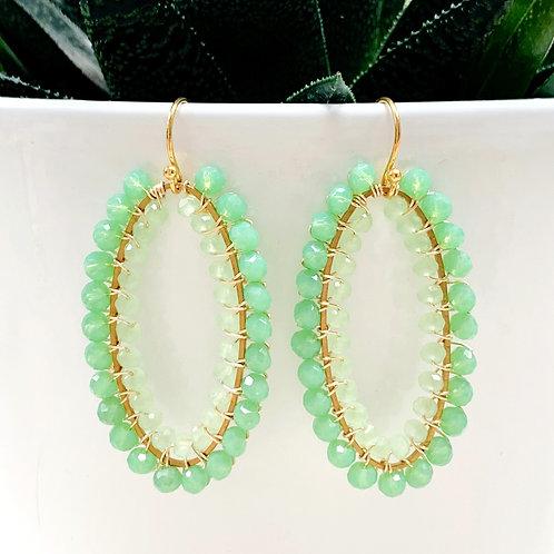 Mint Green & Pale Mint Green Double Beaded Oval Earrings