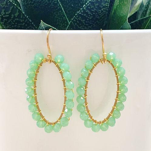 Mint Green Oval Earrings