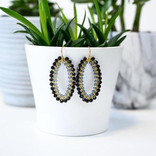 Black & Translucent Double Beaded Oval Earrings