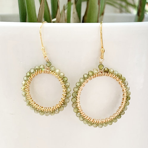 Green Peridot Round Beaded Earrings
