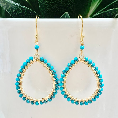 Turquoise Peardrop Beaded Earrings