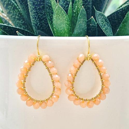 Peach Teardrop Beaded Earrings