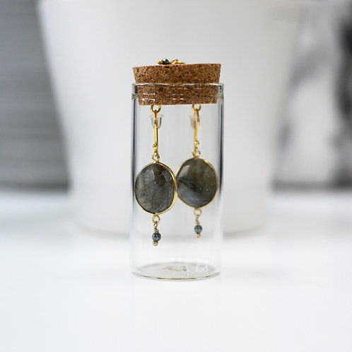 Large Grey Labradorite Round Earrings with Drop in Corked Tube