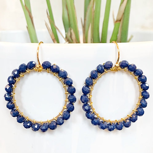 Oxford Blue Round Beaded Earrings