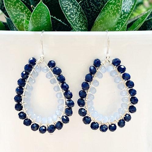 Midnight Blue & Pale Blue Double Beaded Teardrop Earrings (Silver)
