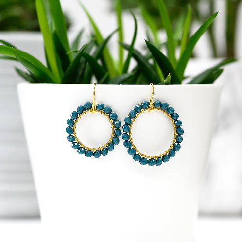 Airforce Blue Round Beaded Earrings